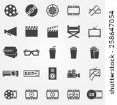 movie or cinema icons   vector... | Shutterstock .eps vector #258647054