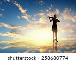 silhouette of woman playing... | Shutterstock . vector #258680774