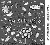vector clip art spring black  ... | Shutterstock .eps vector #258684953