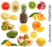 different fruits isolated on a... | Shutterstock . vector #258685160