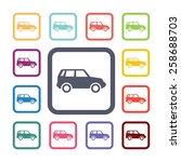 car flat icons set. open... | Shutterstock .eps vector #258688703