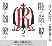 vintage monograms rm ra re rj... | Shutterstock .eps vector #258691400