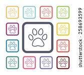 cat footprint flat icons set.... | Shutterstock .eps vector #258693599