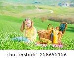 beautiful smiling girl on green ... | Shutterstock . vector #258695156