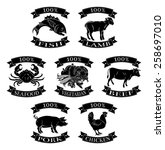food animals 100 percent set... | Shutterstock .eps vector #258697010