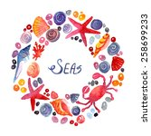sea elements composition.... | Shutterstock .eps vector #258699233