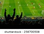 soccer fans in a match. furious ... | Shutterstock . vector #258700508