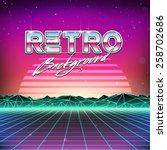 80s retro futurism sci fi... | Shutterstock .eps vector #258702686