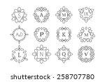 line art logo template set.... | Shutterstock .eps vector #258707780