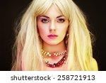 fashion portrait of elegant... | Shutterstock . vector #258721913