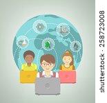modern flat illustration of... | Shutterstock . vector #258723008