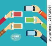 taking a selfie photo flat...   Shutterstock .eps vector #258725054