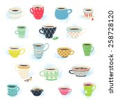 clip art collection of cute tea ... | Shutterstock .eps vector #258728120