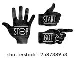 navigation signs. black hands... | Shutterstock .eps vector #258738953