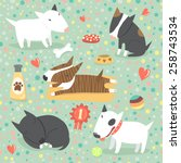 seamless pattern with cute bull ... | Shutterstock .eps vector #258743534