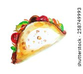 tacos   mexican food   Shutterstock .eps vector #258749993