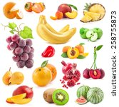 collection of fruits isolated... | Shutterstock . vector #258755873