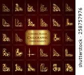 vector set of 28 calligraphic... | Shutterstock .eps vector #258757976