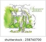hand made watercolor vector... | Shutterstock .eps vector #258760700