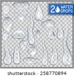 Transparent realistic isolated water drops, EPS 10