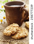 milk and oatmeal cookies on the ... | Shutterstock . vector #258777239