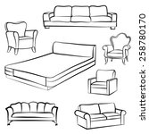 furniture set. interior detail... | Shutterstock .eps vector #258780170