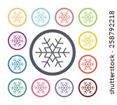 snowflake flat icons set. open... | Shutterstock . vector #258792218