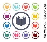 book flat icons set. open... | Shutterstock . vector #258794750