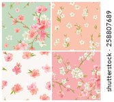 Set Of Spring Blossom Flowers...