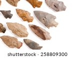 Collection of American Indian arrowheads found in Missouri