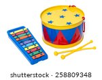 colorful toy metal drum and... | Shutterstock . vector #258809348
