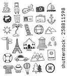 set of travel doodles | Shutterstock .eps vector #258811598