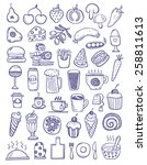 set of food doodles | Shutterstock .eps vector #258811613