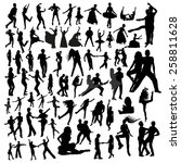 dancing silhouettes | Shutterstock .eps vector #258811628