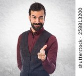 man wearing waistcoat pointing... | Shutterstock . vector #258813200