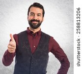 man wearing waistcoat with... | Shutterstock . vector #258813206