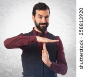 man wearing waistcoat making... | Shutterstock . vector #258813920