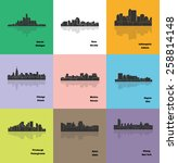 set of 9 city silhouette