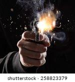 killer with gun close up on...   Shutterstock . vector #258823379