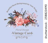vintage floral card with roses  ... | Shutterstock .eps vector #258823490