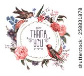 Stock vector vintage watercolor greeting card with blooming flowers and birds thank you with place for your 258831878