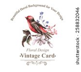 Vintage Floral Card With Bird...