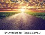 long straight road  way towards ... | Shutterstock . vector #258833960