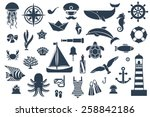 flat icons with sea creatures... | Shutterstock .eps vector #258842186