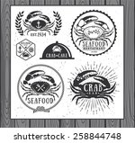set of vintage seafood labels ... | Shutterstock .eps vector #258844748