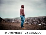 the lonely guy on a walk | Shutterstock . vector #258852200
