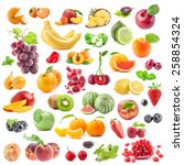 collection of fruits isolated... | Shutterstock . vector #258854324