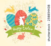 sweet happy easter card in... | Shutterstock .eps vector #258854438