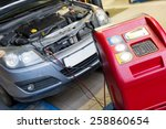 servicing car air conditioner... | Shutterstock . vector #258860654