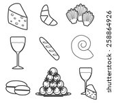 set of cartoon french food...   Shutterstock .eps vector #258864926